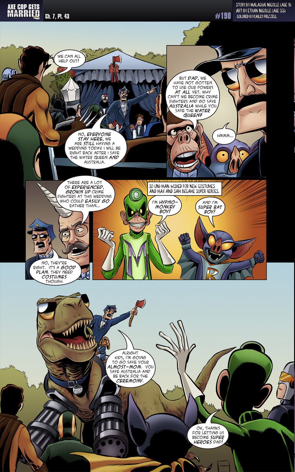 Wolver Man has not had a lot of lines in the Axe Cop series.  It's good to see him taking charge.