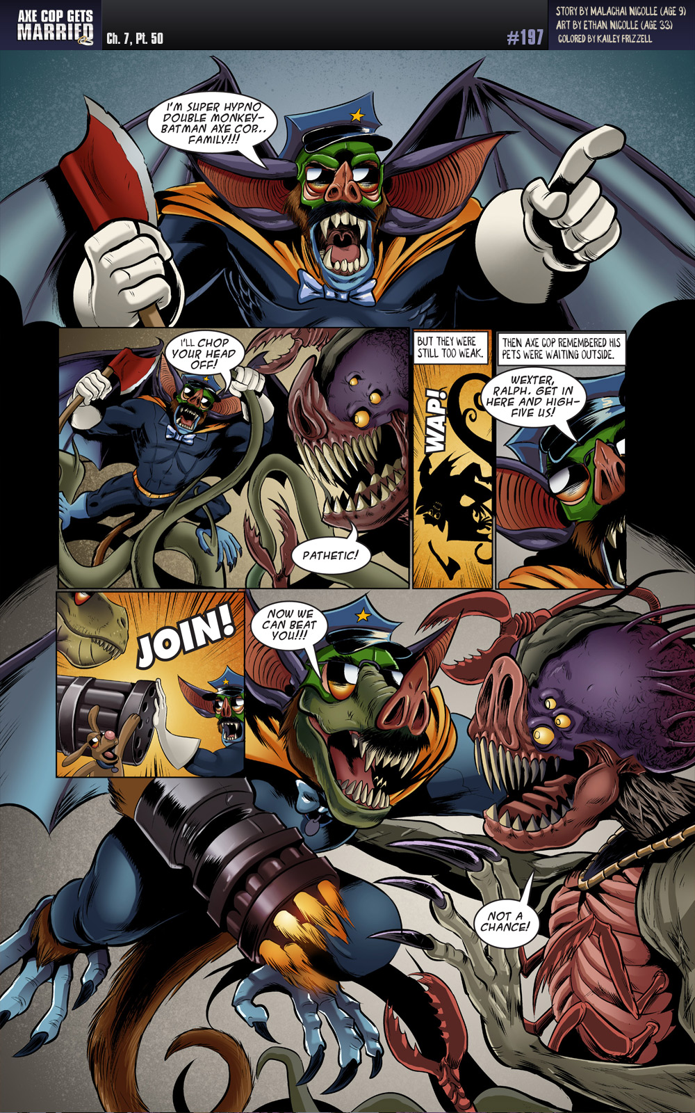 I'm glad the bow tie was not lost in any of the transformations.  Keeps him looking classy.  We can call him Super Hypno Double-Monkey Batman Axe Cop Familsauras Rex Wrinkles.